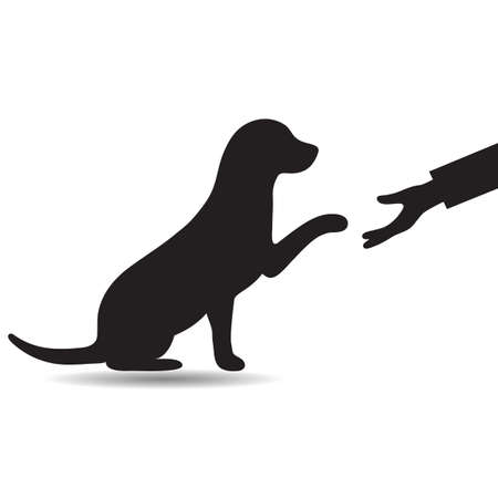 illustration a dog holds out a paw to a man on a white background Illustration