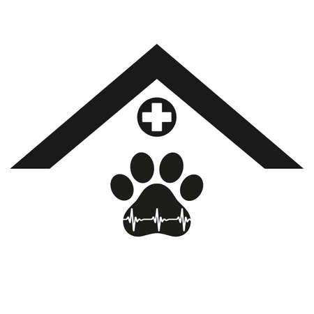 veterinary clinic  for animals with the image of a dog paw with a pulse Ilustracja