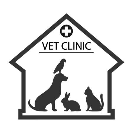 veterinary clinic  with the image of a dog, cat, rabbit and parrot