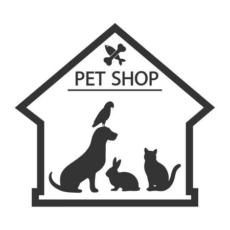 pet shop  with the image of a dog, cat, rabbit and parrot