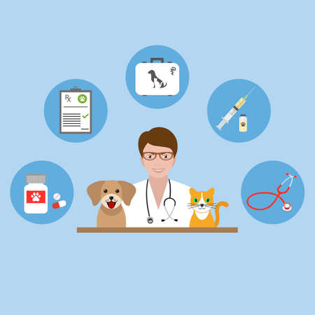 Illustration of a veterinarian doctor with dog and cat on a blue background Vettoriali