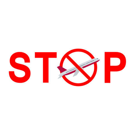 illustration of a stop sign prohibition of flying an airplane
