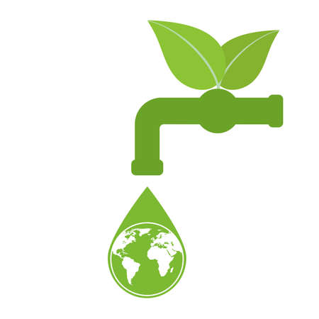 Green tap with a drop of water with a globe. World Environment Day. Ecology concept. Ilustração