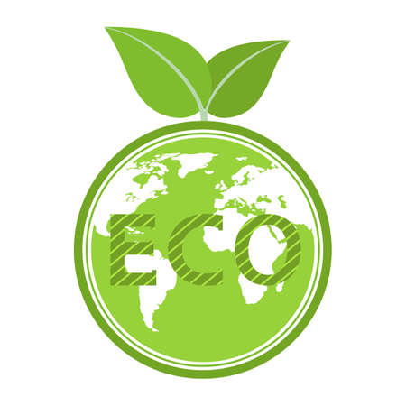 Environmental conservation  illustration. Earth globe with green leaf.