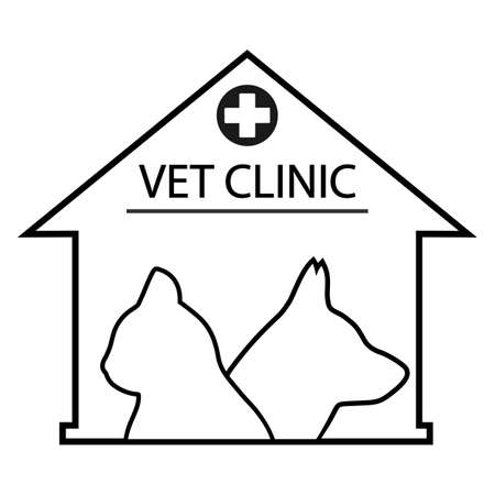 illustration of veterinary clinic for animals with dog and cat silhouettes