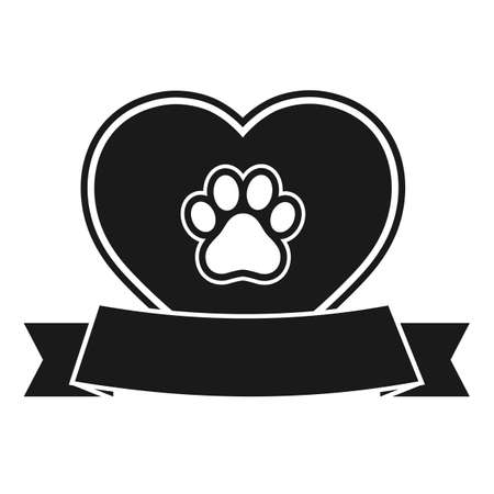 veterinary dog footprint  with heart and banner on a white background