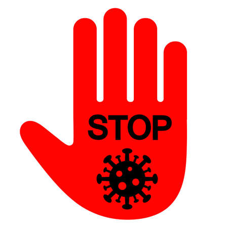 illustration of a stop sign hand with a virus on a white background Stock Illustratie