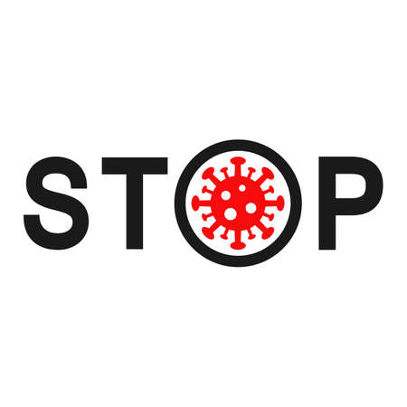 illustration of a stop sign hand with the image of a virus with text Imagens - 147499239