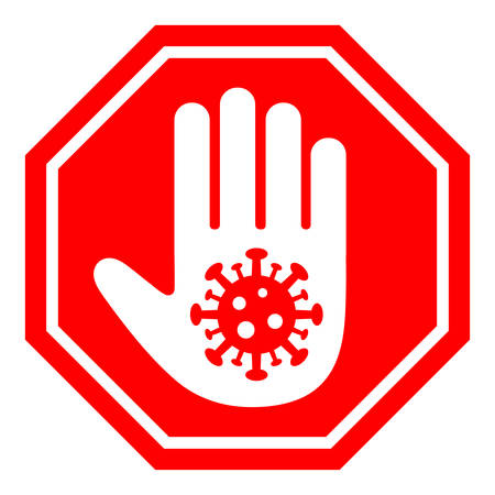illustration of a stop hand sign depicting a virus on a white background