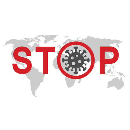 illustration of stop sign virus with text on world map background