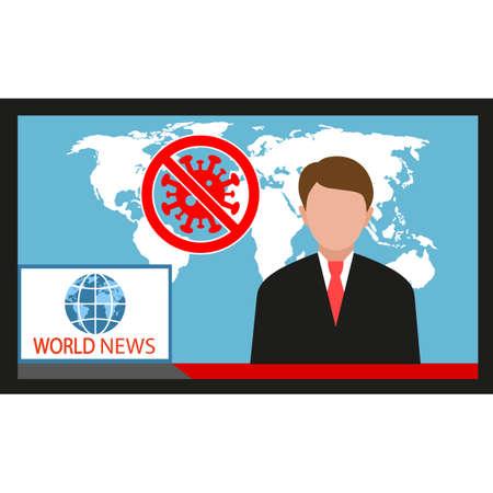 Announcer TV presenters man. Viral pandemic worldwide.