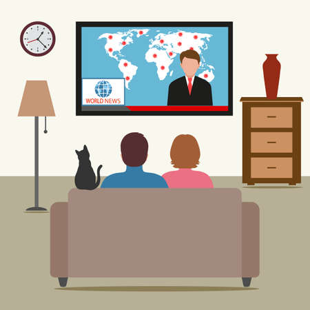 Family watching TV with a reminder to stay at home. self-isolation during pandemic. Stock Illustratie