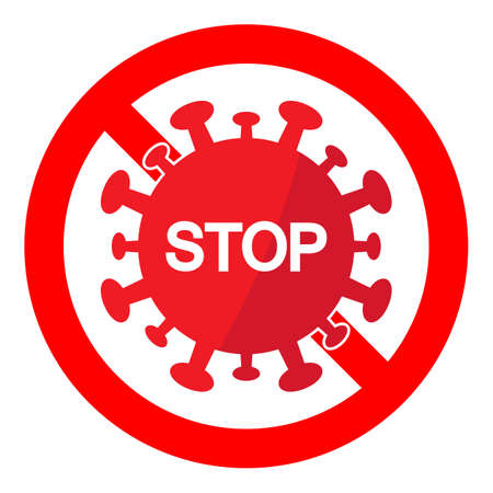 illustration of a caution virus sign stop in a red crossed out circle