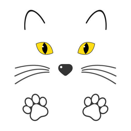 illustration cat face with paws on a white background Imagens - 147752771