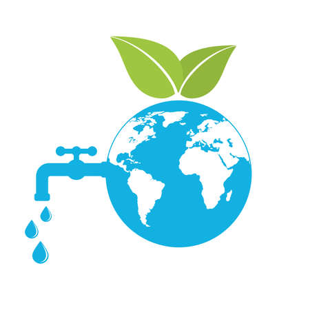 illustration of ecology concept and save water resources on white background