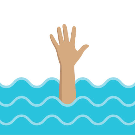 illustration of a man drowning and raising his hand for help Imagens - 148503690