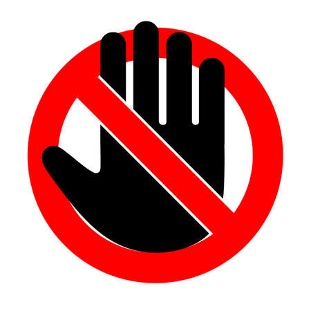 prohibiting stop sign hand in red crossed out circle on a white background Imagens - 148503692
