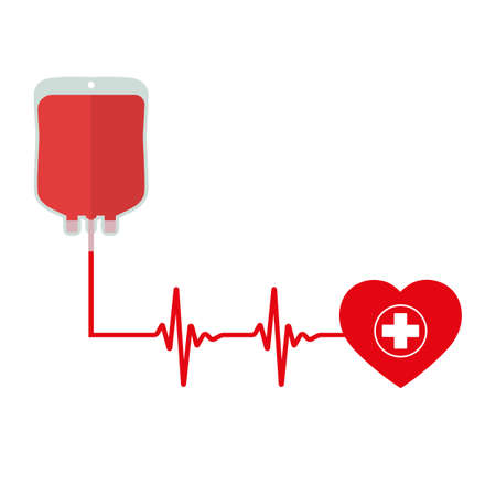 Blood donation day concept. Blood transfusion system with pulse on a white background. Stock Illustratie