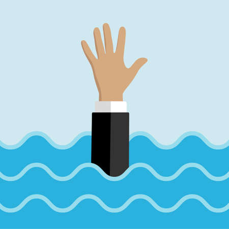 drowning businessman hand in water helping business to survive support rescue concept horizontal