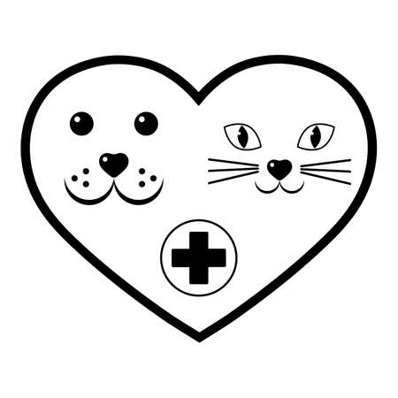 veterinary dog and cat face in heart with medical cross Imagens - 148503695