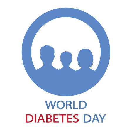 illustration of world diabetes day. man, woman and child in a blue circle