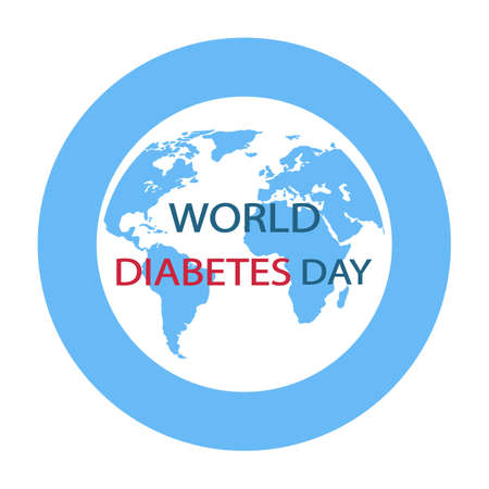world diabetes day. earth globe in a blue circle with the inscription