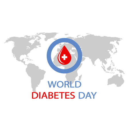 world diabetes day. blue circle with a drop of blood on a world map. Imagens - 148366022