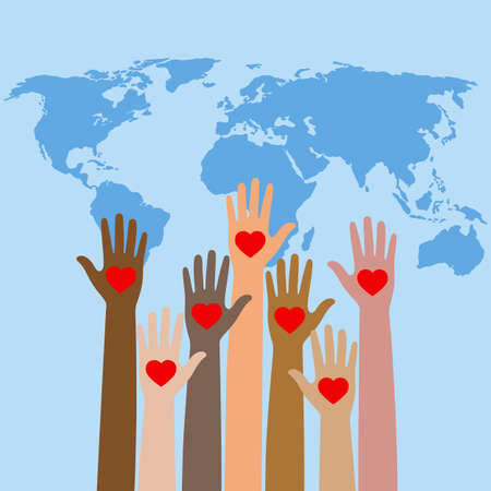 Social media concept represented by human hand and world map. emblem of volunteering .. Ilustracja