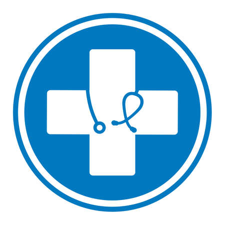 medical cross emblem with stethoscope in a blue circle on a white background Ilustracja