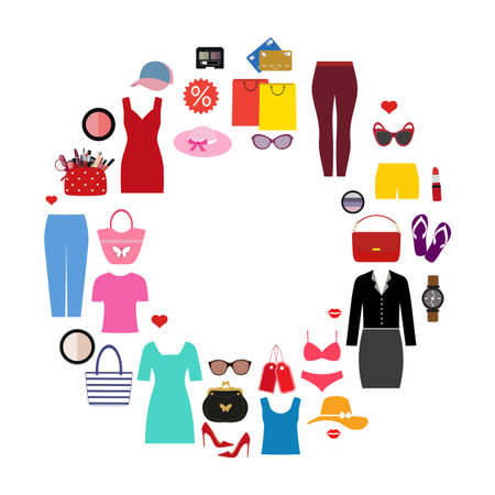 Set of fashionable women's clothing and accessories in the shape of a circle. Imagens - 148589625