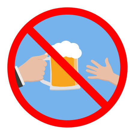 sign forbidden to children alcohol in a red crossed out circle Ilustracja