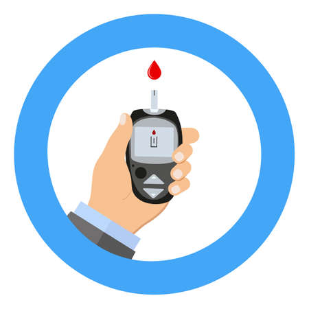 Diabetes Blood Glucose Test. A hand holds a blood sugar meter.