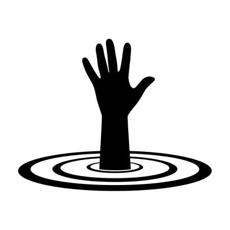 Illustration of a hand of a drowning person in the water Stock Illustratie
