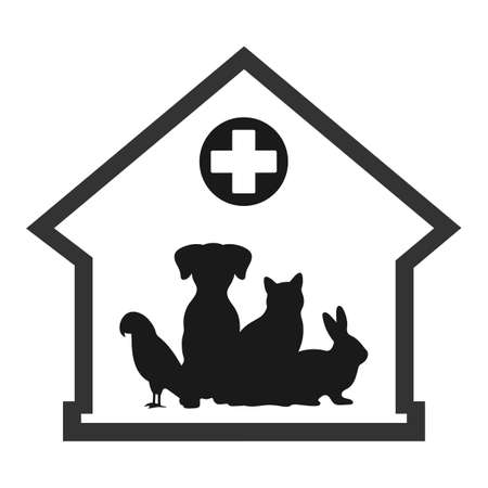 illustration of a veterinary clinic for pets on a white background