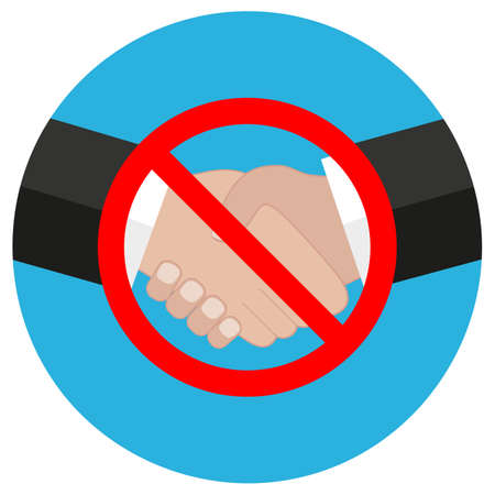 Illustration of a prohibition sign no handshake in a red crossed circle Imagens - 150141849