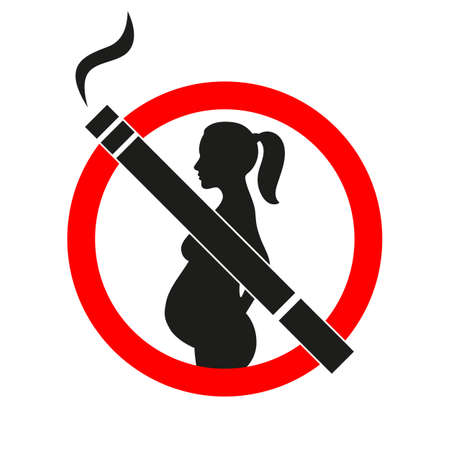 sign forbidden smoking pregnant cigarettes in a red circle on a white background