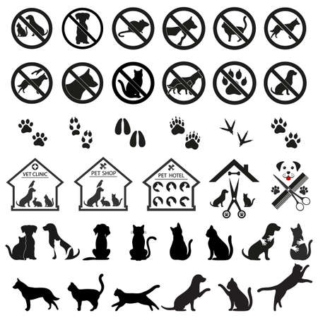 set of signs and emblems with animals for medical clinics, pet shops, hairdressers, hotels Imagens - 150141852
