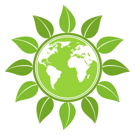 environmental protection emblem. green leaves around the globe