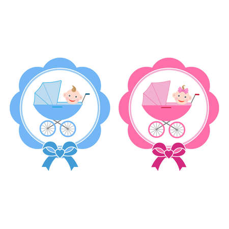 illustration of baby carriages with a boy and a girl Imagens - 149725722