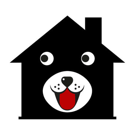 illustration of a cute dog face on a doghouse background