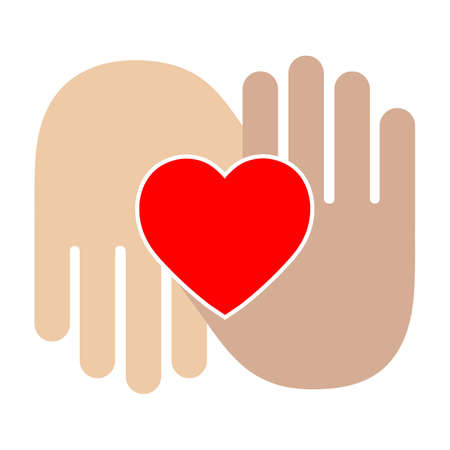 illustration two hands holding a heart. symbol of love, help, care, charity Imagens - 149965321