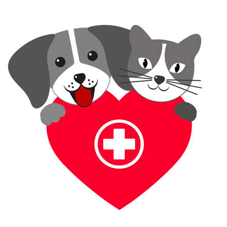 Veterinary emblem dog and cat on the background of the heart with a medical cross Illustration