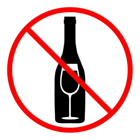prohibition sign a bottle of wine with a glass in a red crossed out circle. No alcohol.