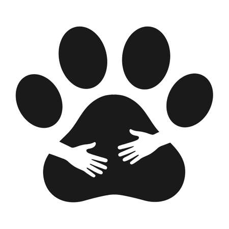 illustration of a man hand hug a dog paw on a white background Vectores