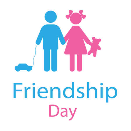 World Friendship Day. Boy and girl holding hands on a white background Vectores
