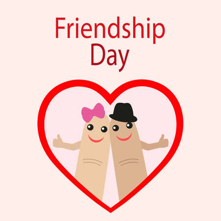 Friendship day illustration. Celebration card showing affection and bond between real friends on pink background.