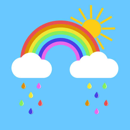 rainbow with clouds and sun on a blue background Vectores