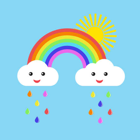 rainbow with cute clouds and sun on a blue background Imagens - 150716467
