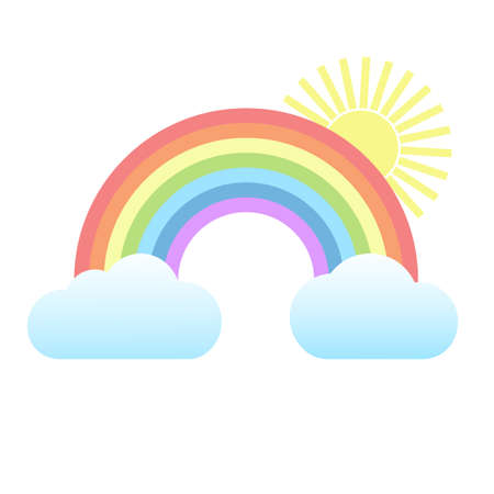 multicolored rainbow with clouds and sun on a white background