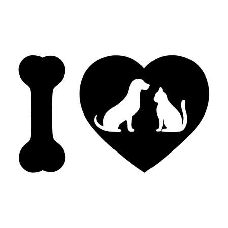 emblem love for pets. cat and dog on a background of the heart Vectores